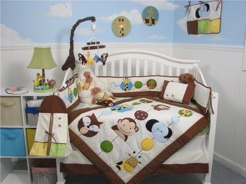 SoHo Forest Buddy Baby Crib Nursery Bedding Set 13 pcs included Diaper Bag with Changing Pad & Bottle Case