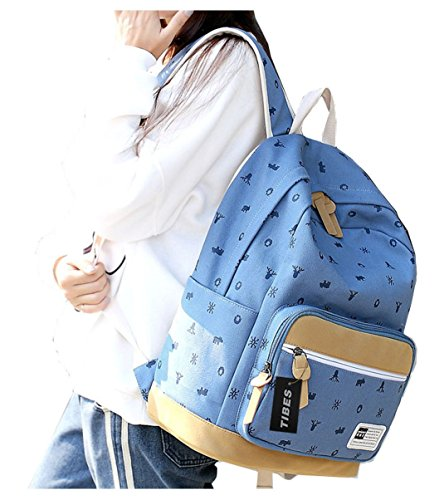 Tibes big capacity canvas laptop backpack womens hiking backpack Light Blue