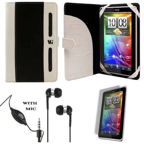 Dark White Protective Slim and Durable Polished Faux Leather Portfolio Cover Carrying Action with Memory Card Slots for HTC Flyer 3G WiFi HotSpot GPS 5MP 16GB Android OS AD2P 7 Inch Tablet Coat of arms + Includes a Crystal Clear HD Noise Run Handsfree wit