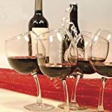 Tipsy Wine Glasses 12 oz. Goblets with Slightly Bent Stems (Set of 4)