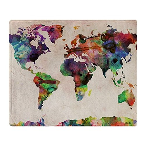 CafePress - World Map Urban Watercolor 14X10 - Soft Fleece Throw Blanket, 50