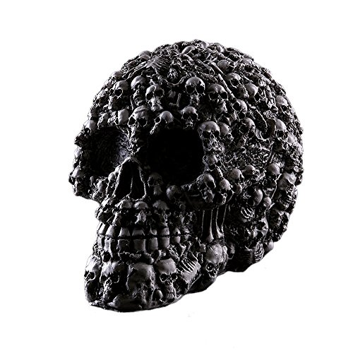 Human Skull Statue Halloween Decoration Skeleton Head Black