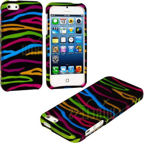 Mylife (Tm) Colorful Zebra Stripes Series (2 Piece Snap On) Hardshell Plates Case For The Iphone 5/5S (5G) 5Th Generation Touch Phone (Clip Fitted Front And Back Solid Cover Case + Rubberized Tough Armor Skin + Lifetime Warranty + Sealed Inside Mylife Aut