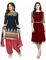 Sky Global Women's Regular Wear Dress Material And Kurti (Combo Pack Of 2)(SKY_DK_9050)(SKY_223_Blue)(SKY_7027...