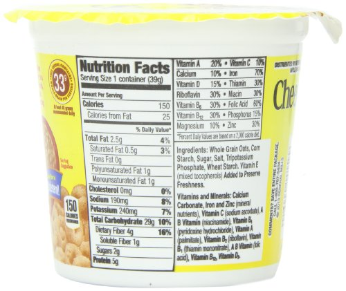 Cheerios Cereal Cup, Gluten Free Cereal, 1.3 Oz (Pack Of