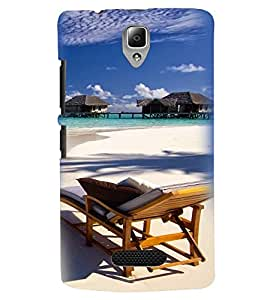 Printvisa Premium Back Cover Beautiful Seaside With Reclining Beach Chair Design For Lenovo A2010