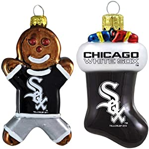 MLB Chicago White Sox Blown Glass Gingerbread Man & Stocking Ornament 2-Pack