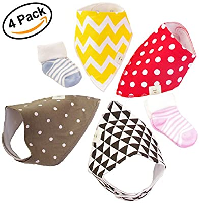 Baby Bandana Bibs (4 pack) +2 Free Pairs Of Baby Socks - Premium Quality Modern And Soft For Girls, Boys, Dribble, Teething, Drool Babies - Waterproof With Adjustable Snaps | Perfect Cute Bib Gift Set