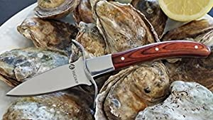 Oyster Knife By HiCoup - Premium Quality Pakka Wood-handle Oyster Shucking Knife with Full Tang Blade and Hand-guard