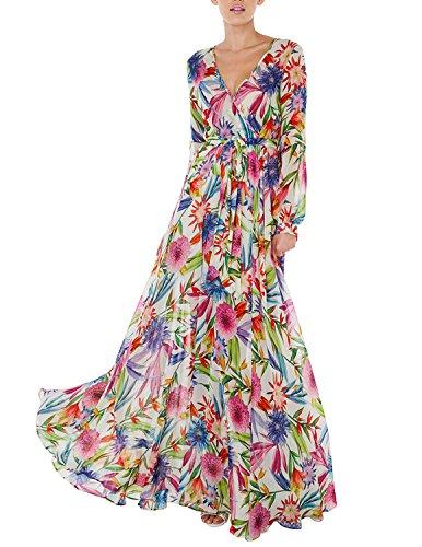 Haoyihui Vintage Style Chiffon V Neck Puff Pleated Wrap Long Maxi Full-Skirted Dress