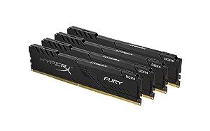 HyperX Fury 64GB 3466MHz DDR4 CL16 DIMM (Kit of 4) Black XMP Desktop Memory HX434C16FB3K4/64 (Tamaño: 64GB kit (4 x 16GB))