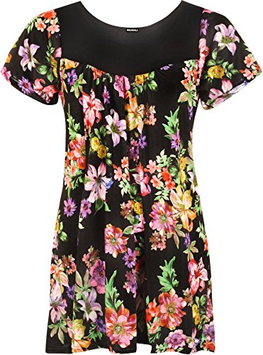 Womens Plus Size Floral Flower Print Scoop Neck Short Sleeve Top Tunic - Black Lilac - 20-22