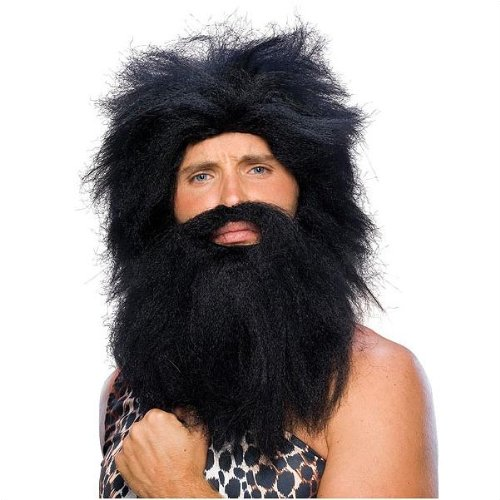 Black Pre-Historic Adult Beard and Wig Set