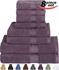 8 Piece Towel Set (Plum) 2 Bath Towel…