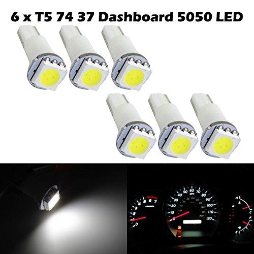Partsam 6X T5 74 70 37 White Wedge Instrument Dashboard Led Bulb Light 57 37 73 257 For 2008-2011 Infiniti G37