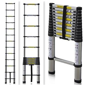 ALEKO® TL-12 Portable 12.5' Aluminum Telescoping Extension Ladder