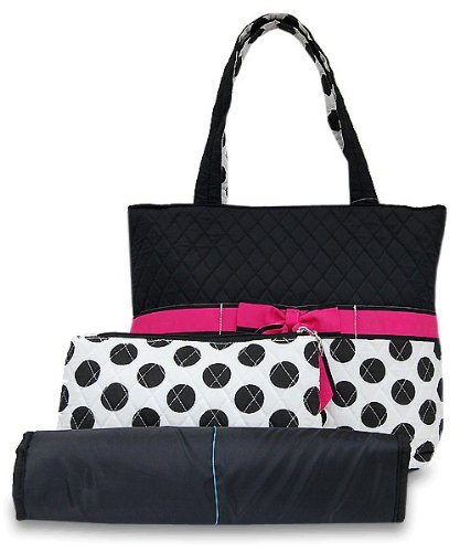 quilted diaper bag black and white with polka dots and hot pink ribbon de. Black Bedroom Furniture Sets. Home Design Ideas