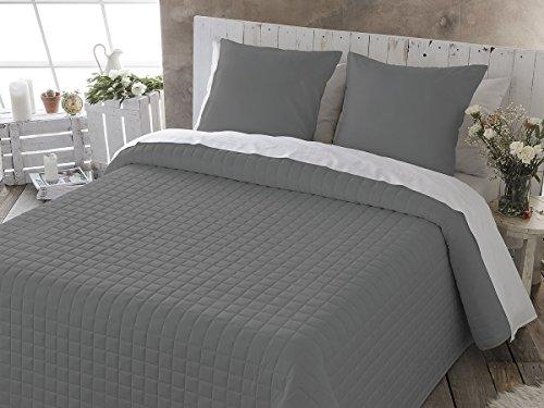 Fundeco - Colcha Bouti IZAN - cama de 105 cm. Color Gris