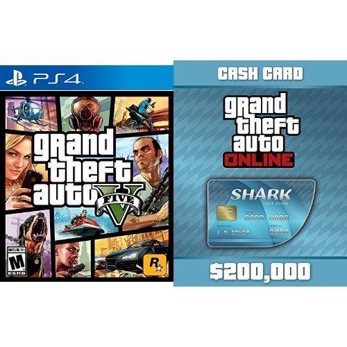 Grand Theft Auto V - PlayStation 4 + Grand Theft Auto V: Tiger Shark Cash Card - PS4 [Digital Code] bundle (Grand Theft Auto 5 Ps4 Shark Card compare prices)