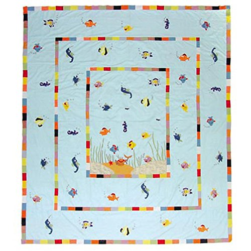 Patch Magic Kids Aquarium Quilt, Twin, 65-Inch by 85-Inch