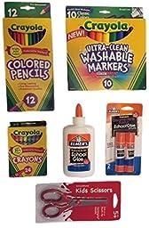 School Supply Kit - Crayola Crayons (24), Crayola Colored Pencils (12), Crayola Washable Markers (10), Elmers School Glue, Elmers School Glue Sticks (2), 5 in. Sissors