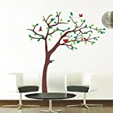 Pop Decors Removable Vinyl Art Wall Decals Mural, Nursery Tree (Orange)