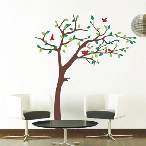 Pop Decors Removable Vinyl Art Wall Decals Mural, Nursery Tree (Orange)