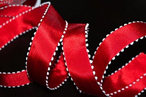"""Ribbon Queen di qualità nastro natalizio Gamma 1,5""""(38mm) 3M o 5M Wired cavo con glitter, rosso, verde, argento, oro, viola, blu e bordeaux con Tartan tradizionale Vintage Burlap ecc. venduto come 3M o 5M, Red Snowball Pom Pom, 5 m"""