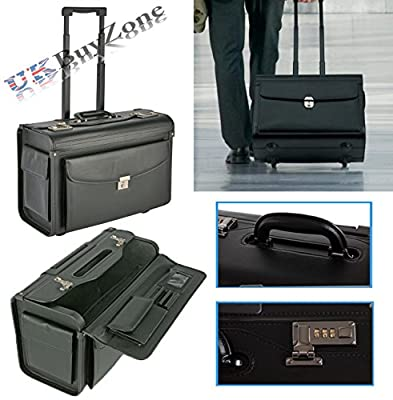 Faux Leather Black Pilot Case Business Laptop Travel Work Flight Briefcase Trolley Bag