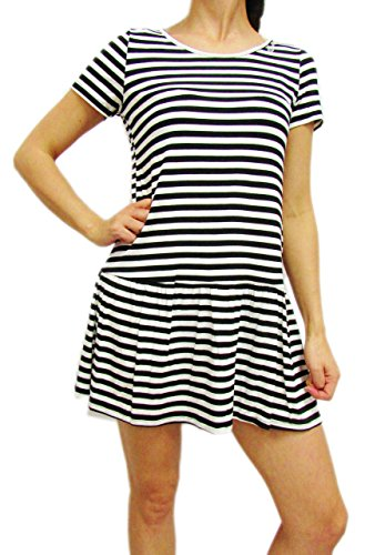 Dresses. 100% Rayon! Playful Peplum Dress with Black & White Stripes!