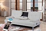 Sleep Design Manhattan - Divano letto in ecopelle, 3 posti, moderno, con altoparlanti stereo Bluetooth, colori disponibili: nero, rosso, bianco, verde, marrone, Similpelle, bianco, 3 posti 60 watts