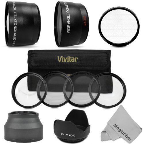 58MM Essential Kit for CANON REBEL (T5i T4i T3i T3 T2i T1i XT XTi XSi SL1), CANON EOS (700D 650D 600D 1100D 1000D 550D 500D 350D 100D) DSLR Cameras – Includes: 2.2X Telephoto and 0.43X Wide Angle High Definition Lenses + Tulip Flower Lens Hood + Star Filter + Vivitar Macro Close Up Set (+1 +2 +4 +10) + MagicFiber Microfiber Lens Cleaning Cloth