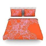 "Kess InHouse Patternmuse ""Mandala Pumpkin"" Orange Pink Cotton Duvet Cover, 88 by 104-Inch"