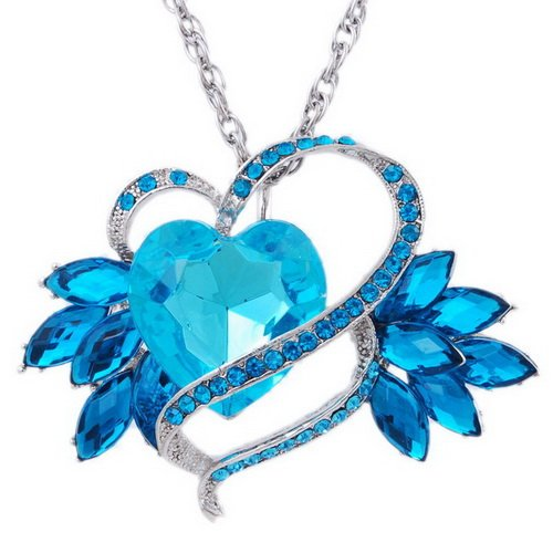 Imitate Zircon Pendant Necklace Wedding Chain Alloy Heart Rhinestone BLUE