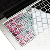 """TOP CASE - Ultra Thin Silicone Keyboard Cover For Macbook 13 Unibody Old Generation Macbook Pro 13 15 17 New Macbook Air 13 Wireless Keyboard - Pink Hyacinth Turquoise Wooden Pink Hyacinth Turquoise Wooden Uni-size 13\""""15\""""17\"""""""