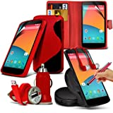 8-IN-1 Monster Pack LG Google Nexus 5 PREMIUM PU 3 CARD SLOTS Leather Wallet flip Case Skin Cover + LCD Screen Protector Guard + S Line Wave Gel Case + 360 Rotating Car Holder + 3.5 MM Earbud Earphone + Micro USB Flat Cable + Bullet Car Charger + Large T