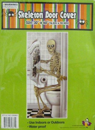 1 Halloween Door Cover Skeleton on Toilet