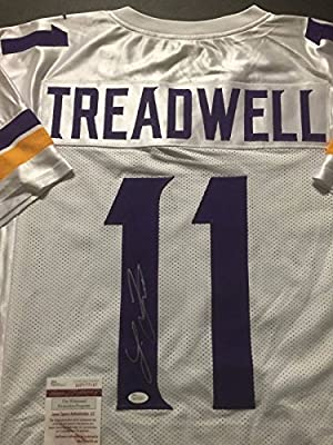 Autographed/Signed Laquon Treadwell Minnesota Vikings White Football Jersey JSA COA