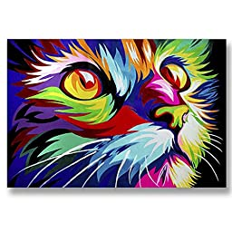 Neron Art - Hand painted Animal Oil Painting on Gallery Wrapped Canvas - Cat 20X14 inch (51X36 cm)