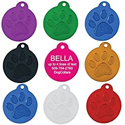 Round Paw Personalized Pet ID Tags | 8 Colors Options | Durable Lightweight Anodized Aluminum | For Cats and Dogs