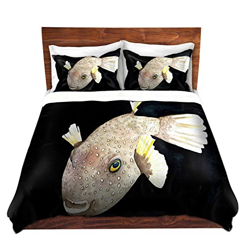 Duvet Cover Brushed Twill Twin, Queen, King from DiaNoche Designs by Marley Ungaro Home Decor and Bedding Ideas - Deep Sea Life- Puffer Fish