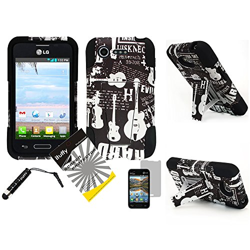 3 items Combo: ITUFFY(TM) LCD Screen Protector Film + Mini Stylus Pen + 2 tone Design Dual Layer KickStand Tuff Impact Armor Hybrid Soft Rubber Silicone Cover Hard Snap On Plastic Case for Verizon LG Optimus Zone2 VS415PP / LG Optimus Fuel L34C (Guitar - Black) (Optimus Fuel Rubber Phone Case compare prices)