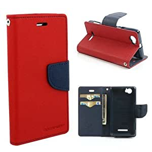 Mercury Goospery Wallet Diary Style Flip Back Case Cover for MICROSOFT NOKIA LUMIA 535 (RED)