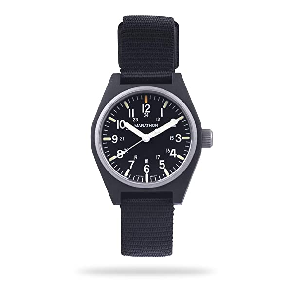 Marathon Watch WW194009-BK-NGM General Purpose Quartz Swiss Made Military Field Army Watch (GPQ) with MaraGlo and Sapphire Crystal (34mm, Black, No Goverment Markings) (Color: Black - No Gov't Markings)
