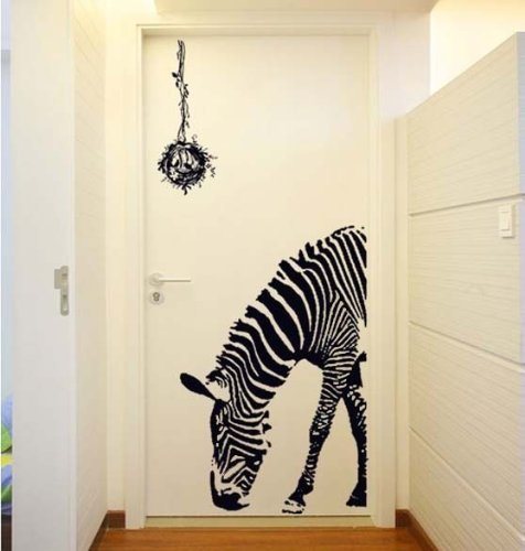 BestGrew® Huge Zabra Vinyl Wall Sticker Zebra Wall Decals Animal Print Home Murals Decor