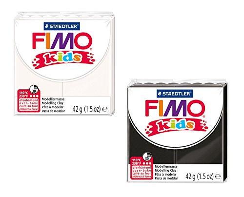 Staedtler 8030 AMZ 01 - Fimo kids Modelliermasse, 2 Blöcke, 42 g, schwarz/weiß