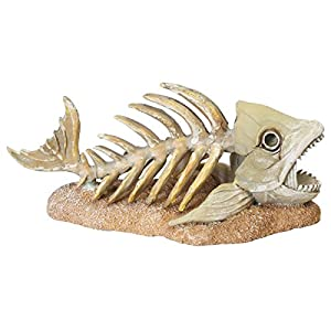 Zombie Fish Skeleton Glow In The Dark Aquarium Ornament
