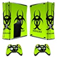 GameXcel ® Xbox 360 Skin Sticker Custom Cover Case Set Decal Xbox360 Slim Modded Console Game Accessories Skins Xbox 360 S Stickers with 2 Wireless Remote Controllers Decals - Biological harzard