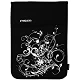 8 - 10.1 inch Black & White Fleur Floral Netbook Notebook Laptop Sleeve Bag Carrying Case for iPad, Acer, ASUS, Dell, HP ~ MyGift