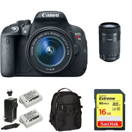 Canon EOS Rebel T5i Digital SLR Bundle with 18-55mm Lens and 55-250mm Lens + Memory Card, Bag and Battery
